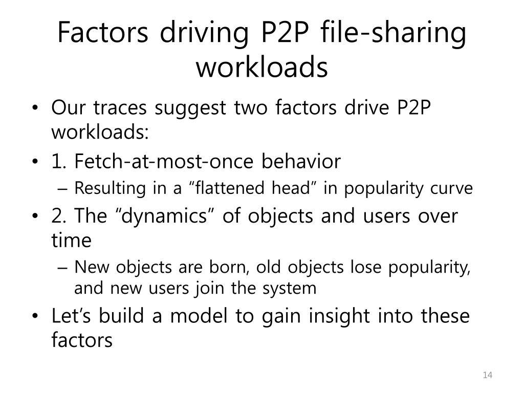Factors driving P2P file-sharing workloads