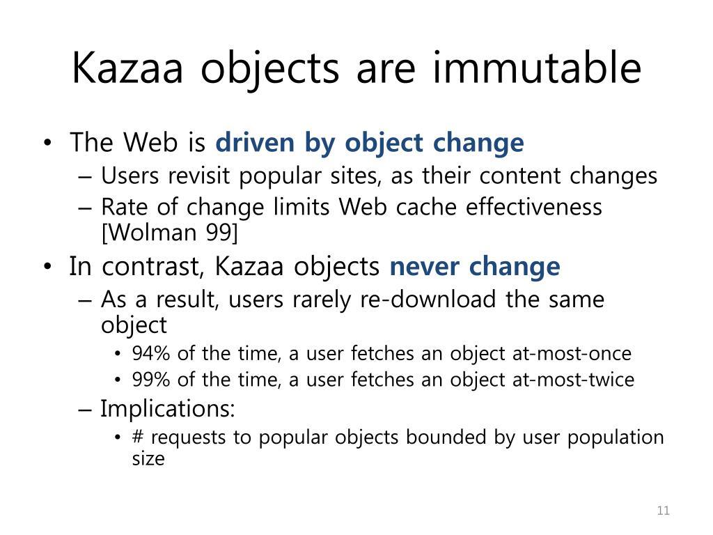 Kazaa objects are immutable
