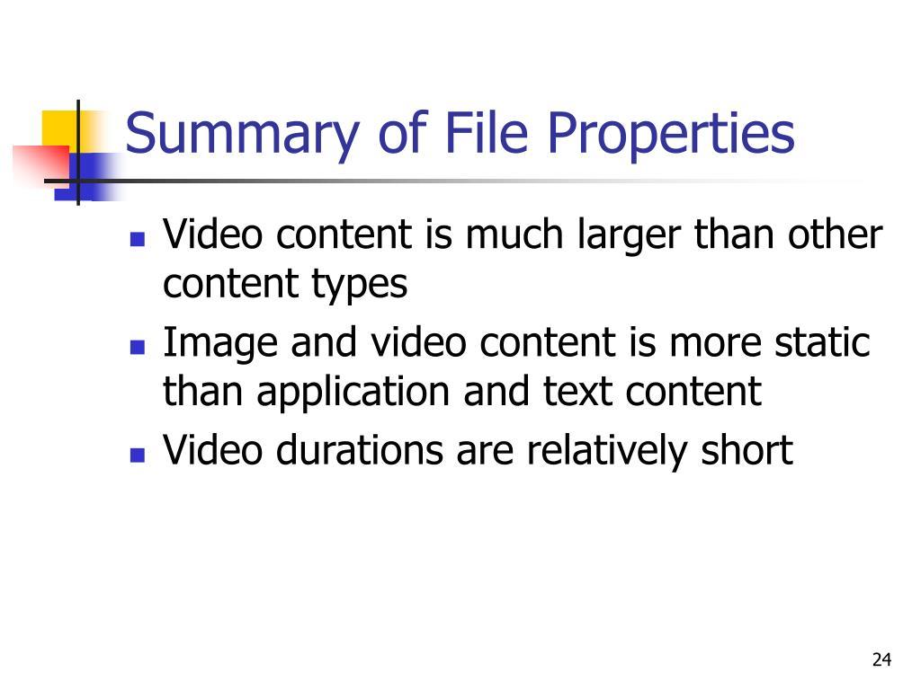 Summary of File Properties