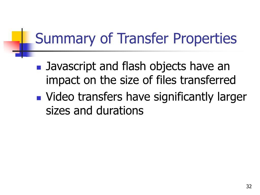 Summary of Transfer Properties