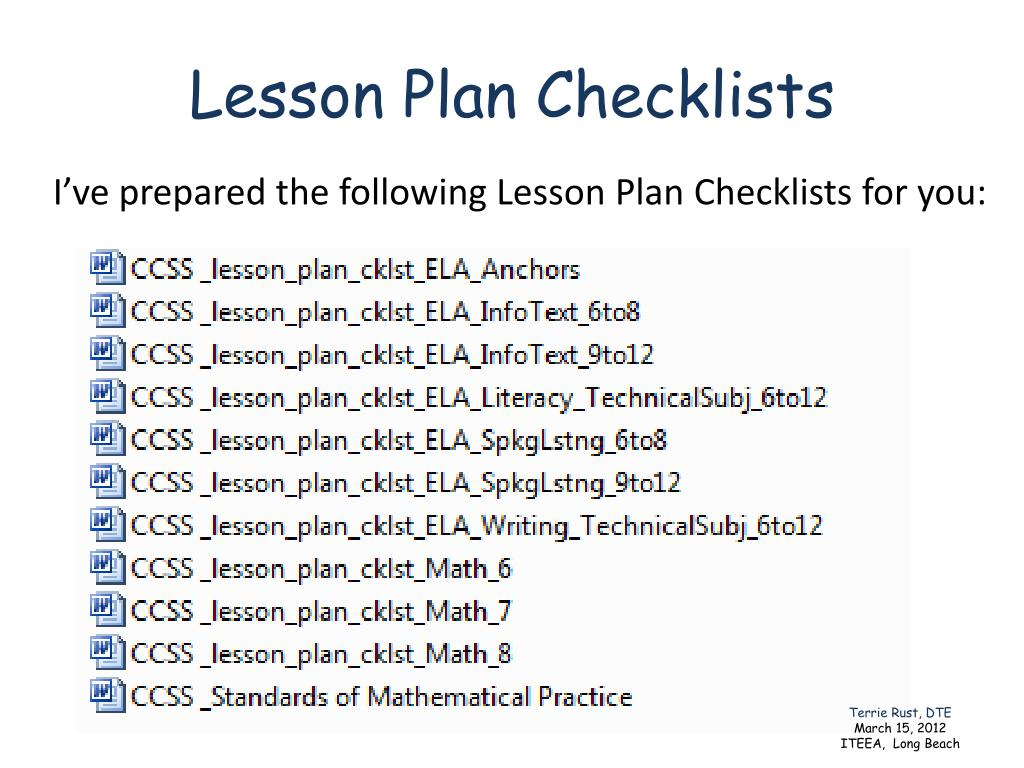 Lesson Plan Checklists