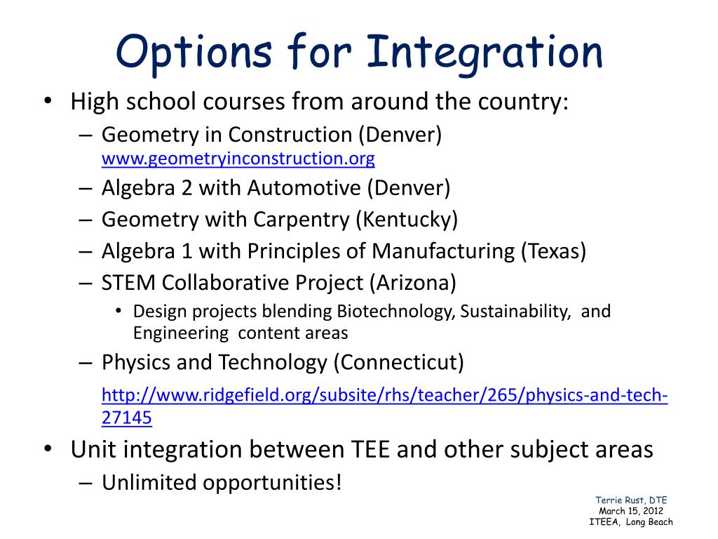Options for Integration
