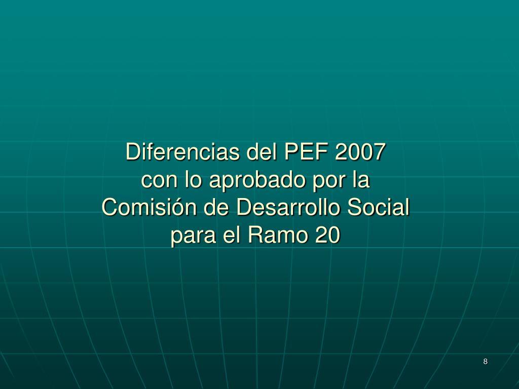 Diferencias del PEF 2007