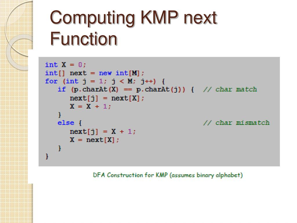 Computing KMP next Function