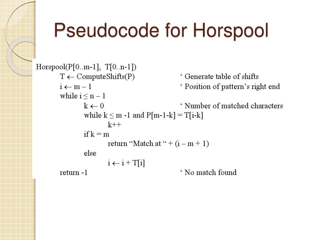Pseudocode for Horspool