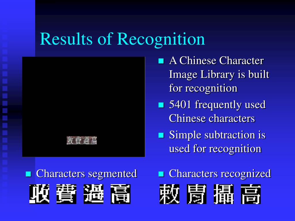 Results of Recognition