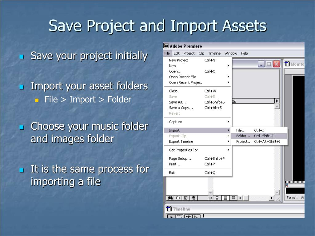 Save Project and Import Assets
