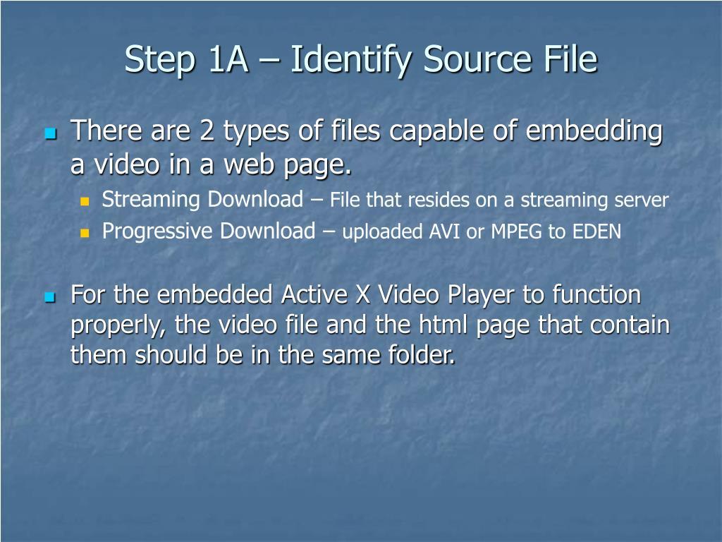 Step 1A – Identify Source File