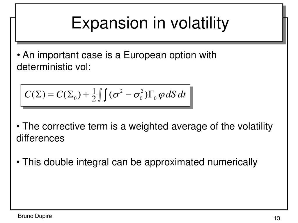 Expansion in volatility