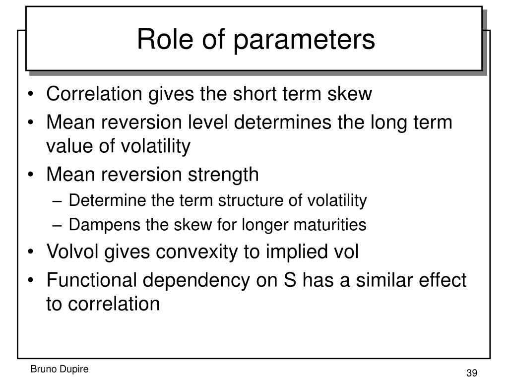 Role of parameters