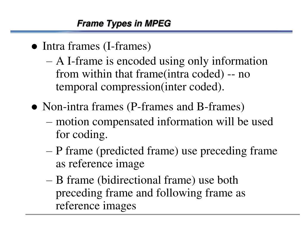 Frame Types in MPEG