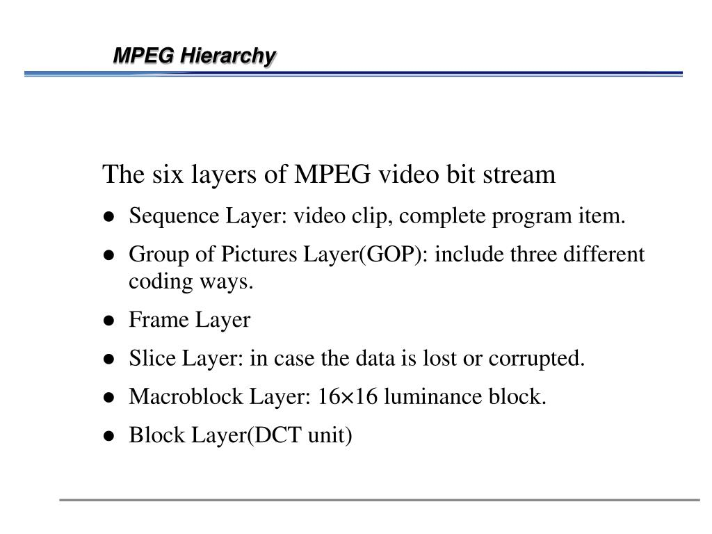 MPEG Hierarchy