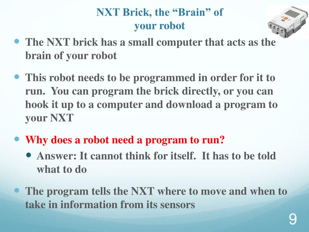 "NXT Brick, the ""Brain"" of your robot"