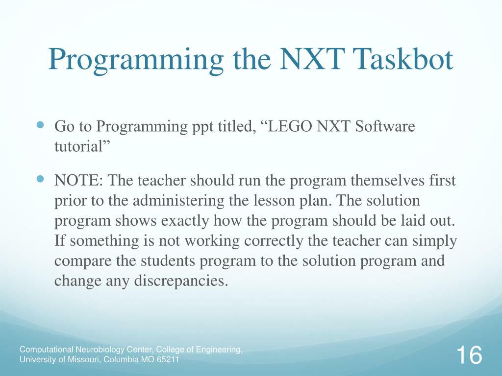 Programming the NXT Taskbot