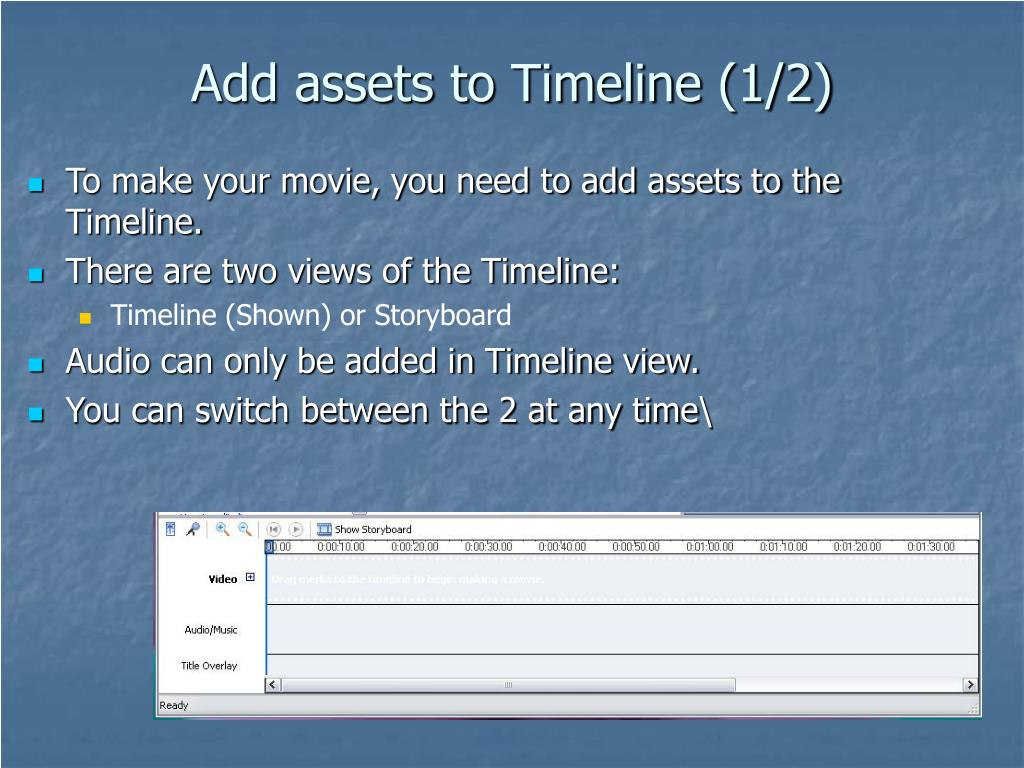 Add assets to Timeline (1/2)