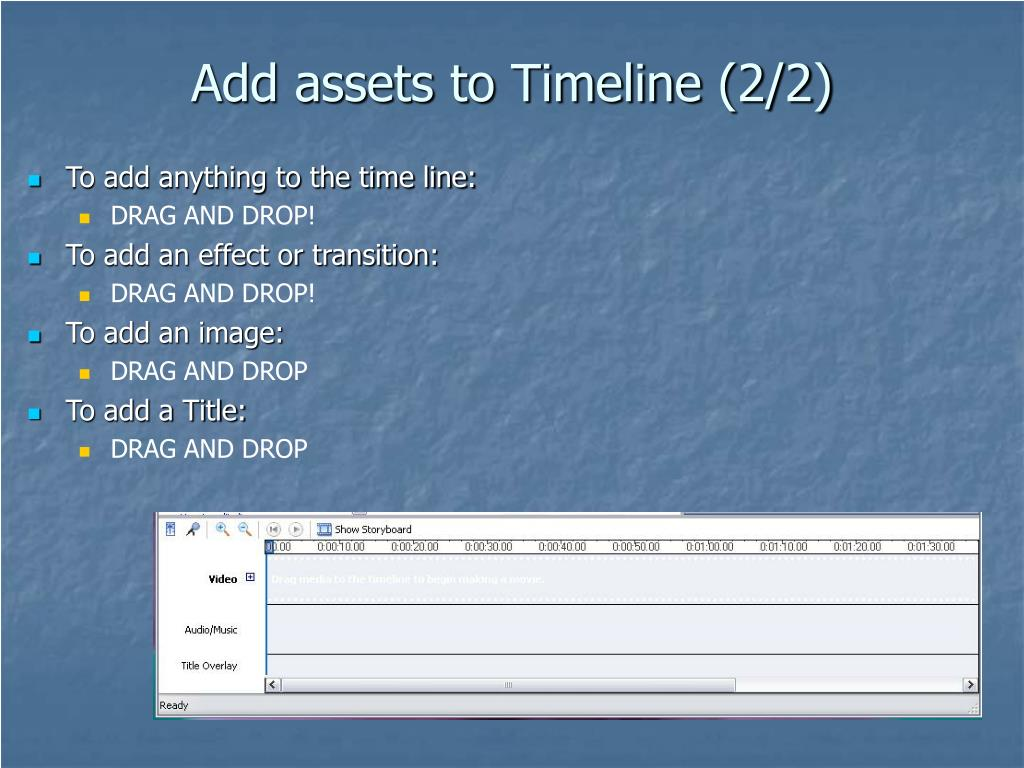 Add assets to Timeline (2/2)