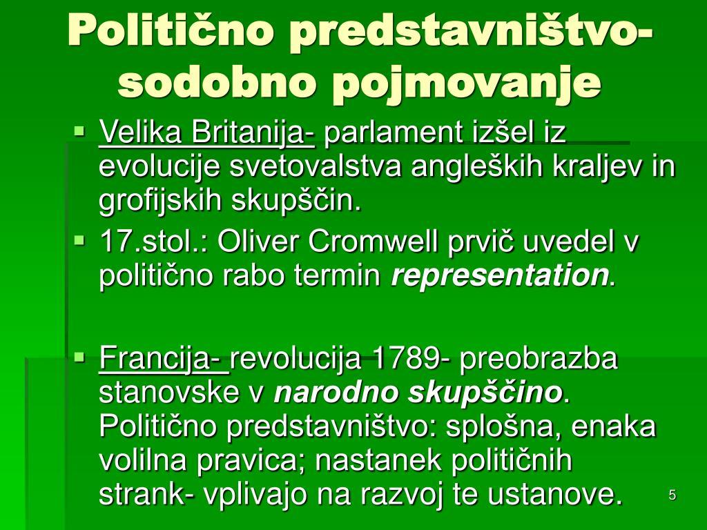 Politično predstavništvo- sodobno pojmovanje