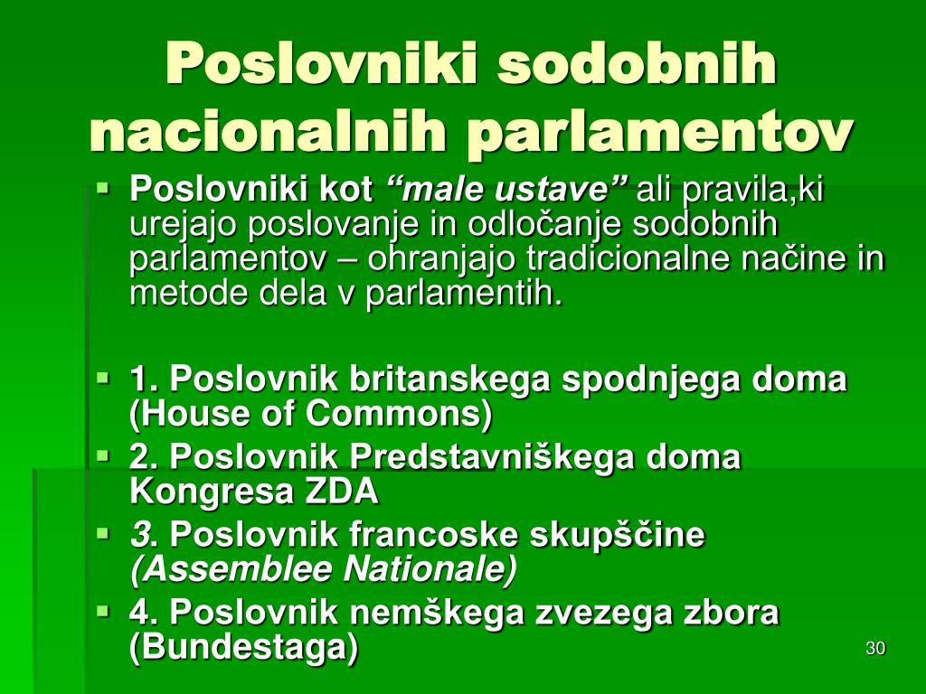 Poslovniki sodobnih nacionalnih parlamentov