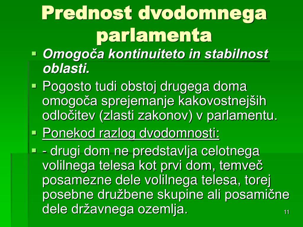 Prednost dvodomnega parlamenta