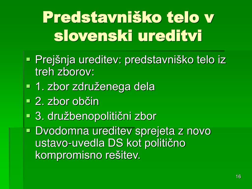Predstavniško telo v slovenski ureditvi