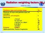 radiation weighting factors w r icrp 60 1991