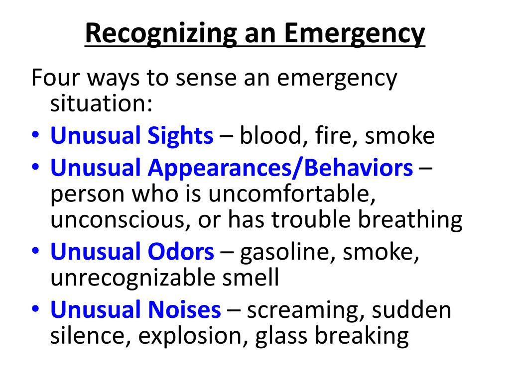 Recognizing an Emergency