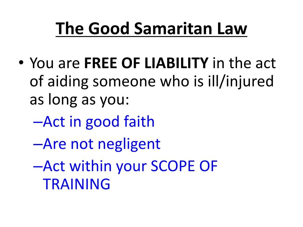 The Good Samaritan Law