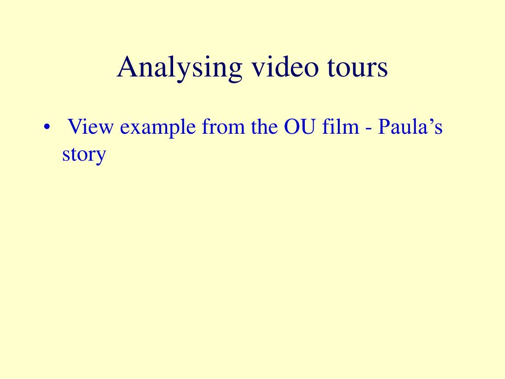 Analysing video tours