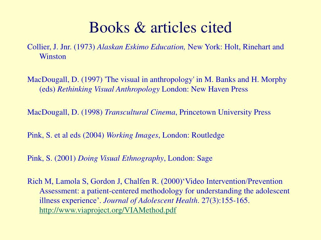 Books & articles cited