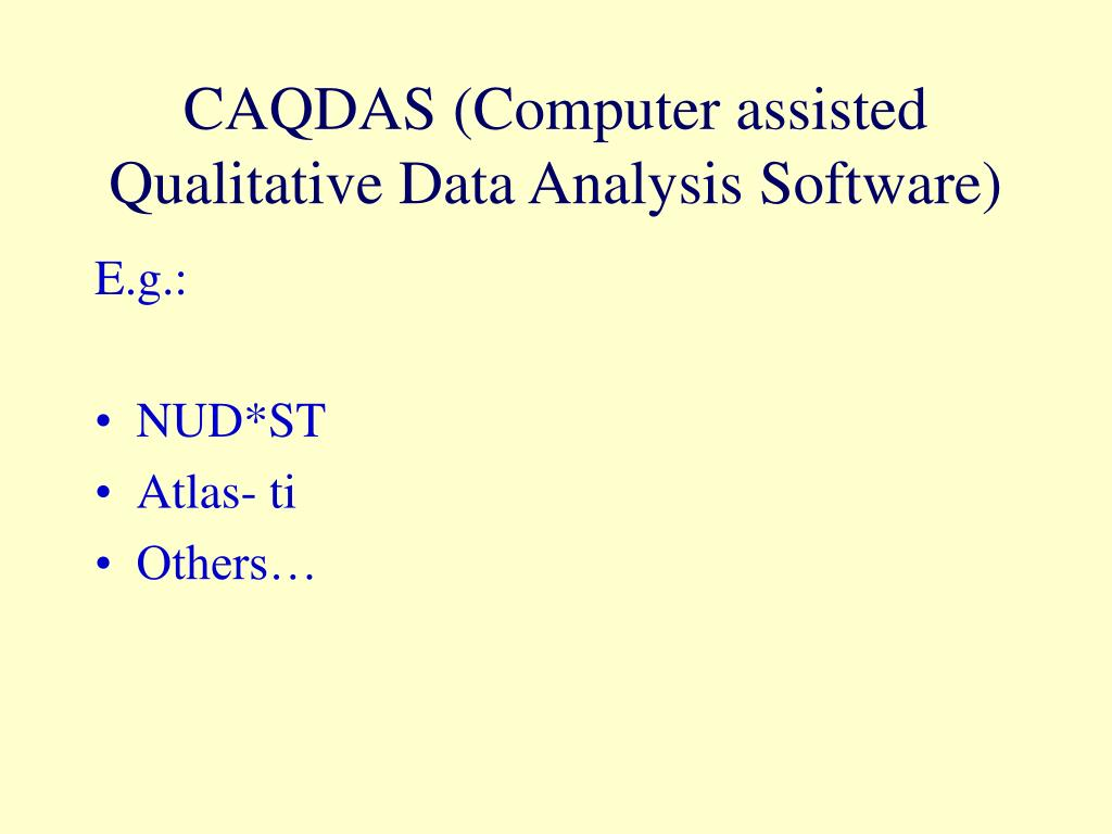 CAQDAS (Computer assisted Qualitative Data Analysis Software)