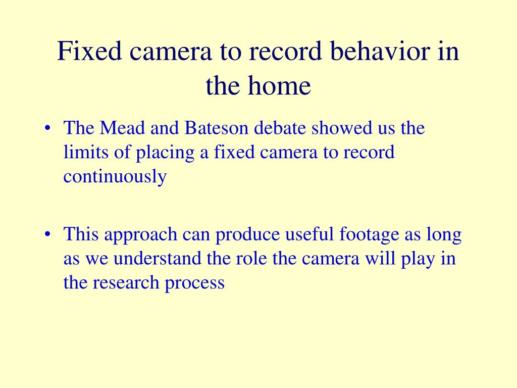 Fixed camera to record behavior in the home
