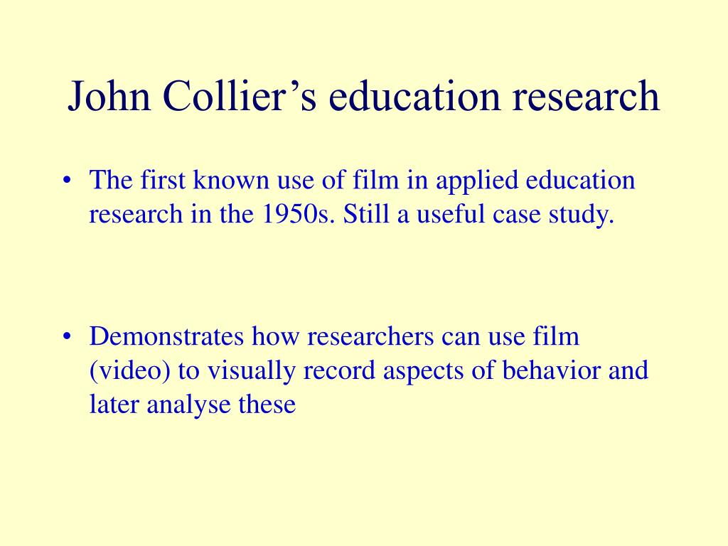 John Collier's education research