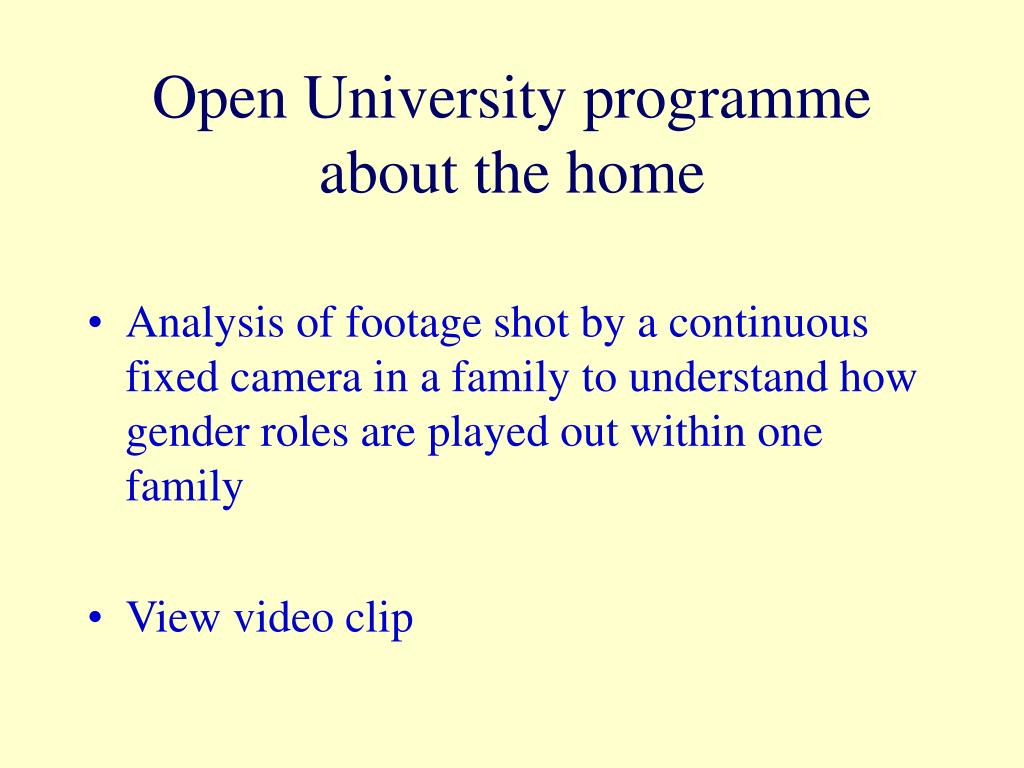 Open University programme about the home