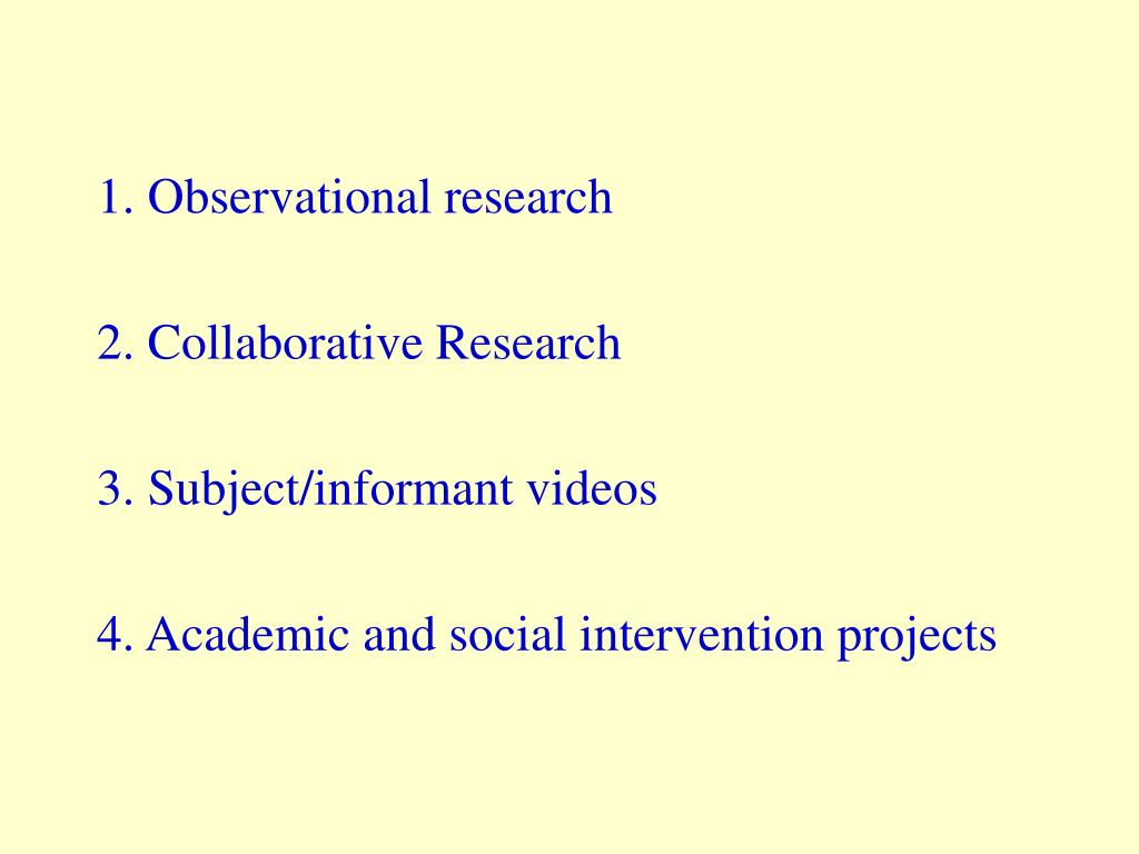 1. Observational research