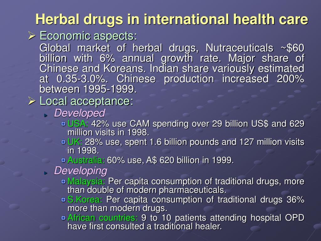Herbal drugs in international health care