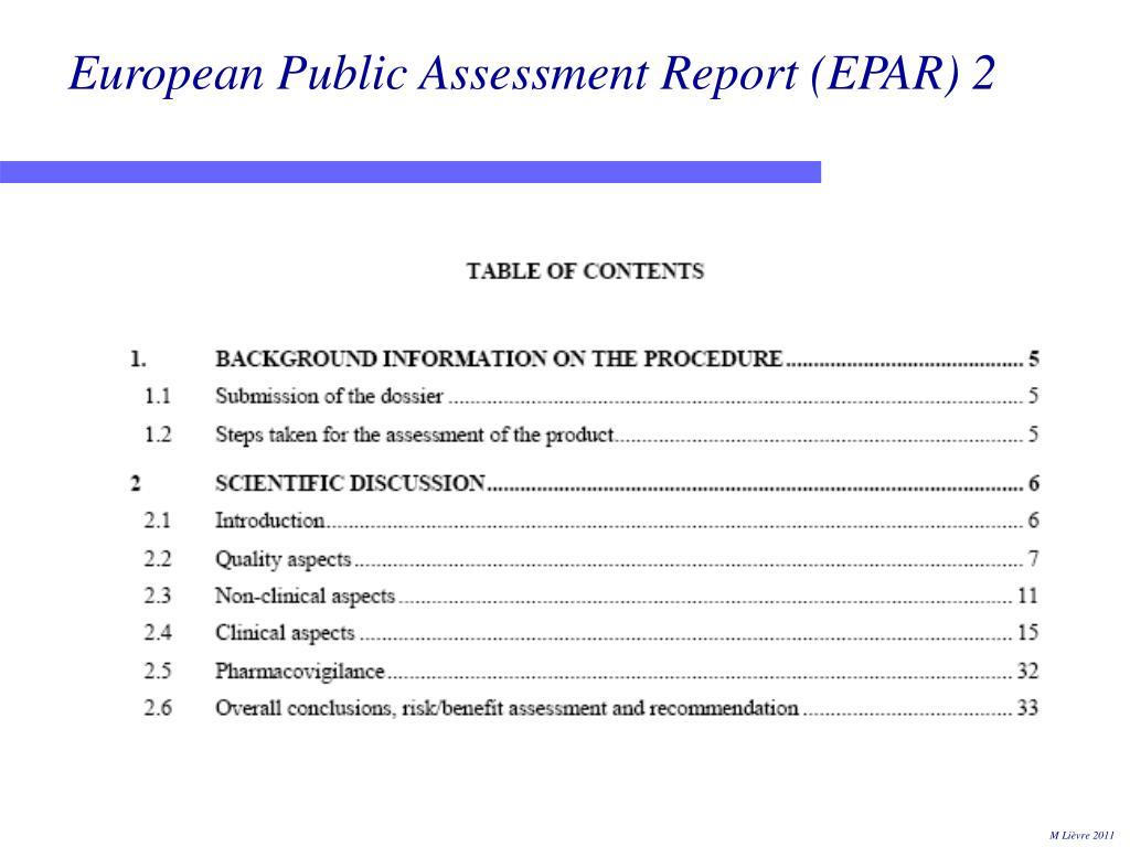 European Public Assessment Report (EPAR) 2