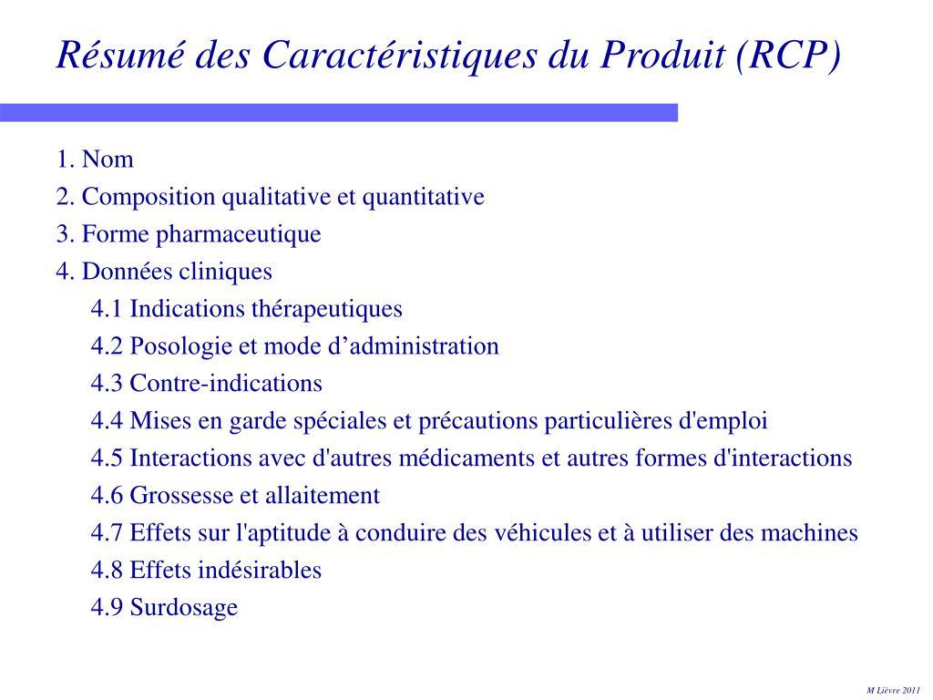 Résumé des Caractéristiques du Produit (RCP)