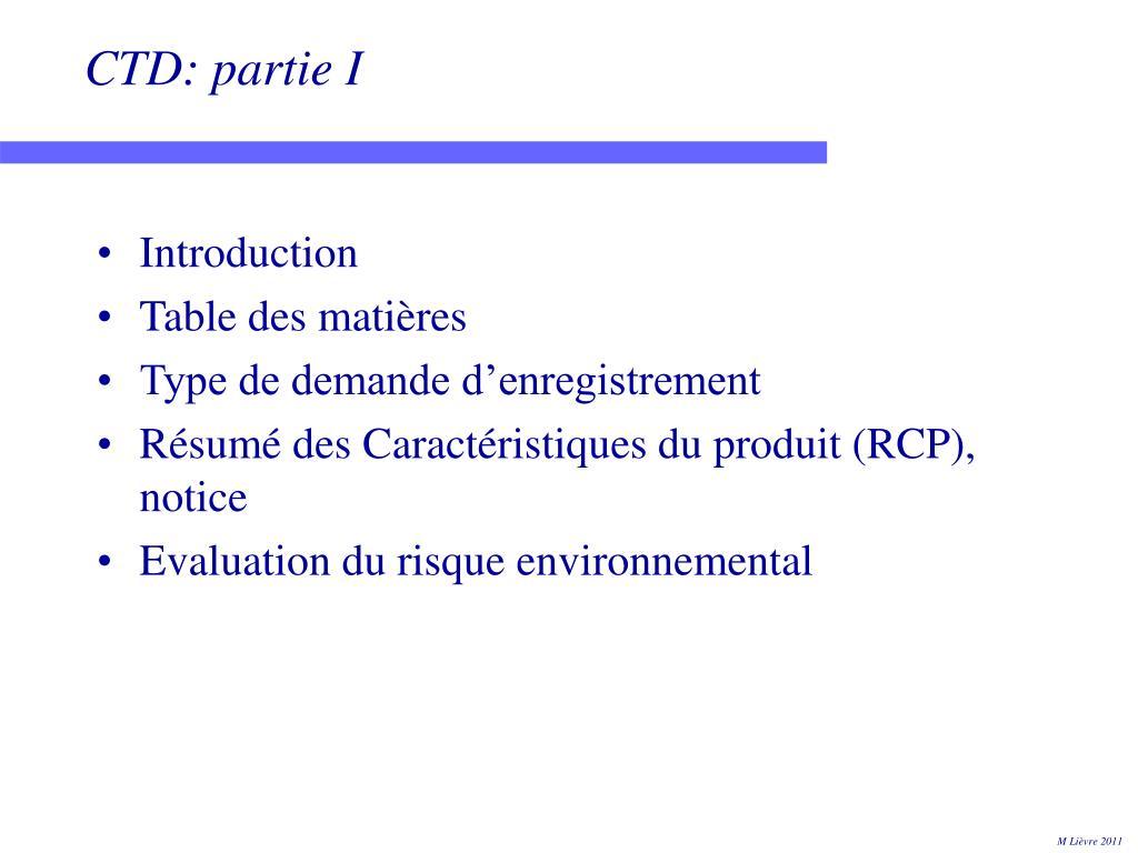 CTD: partie I