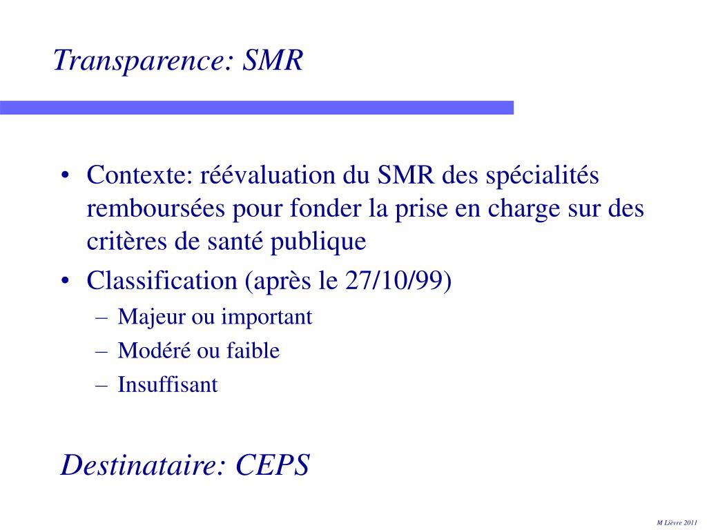 Transparence: SMR