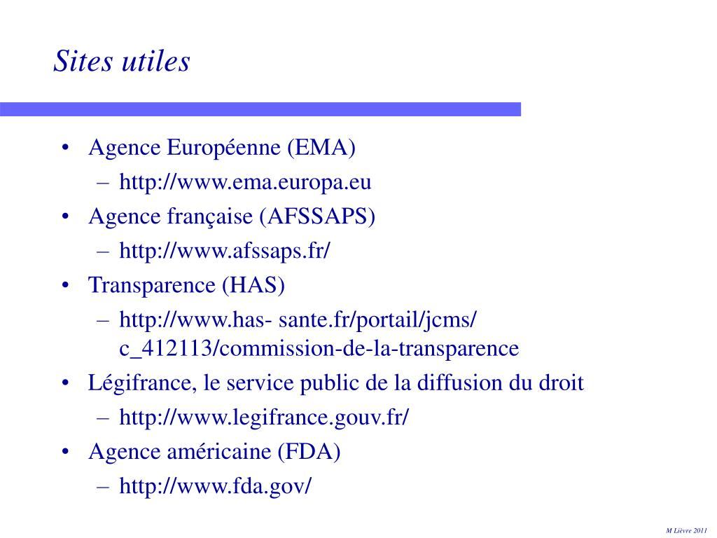Sites utiles