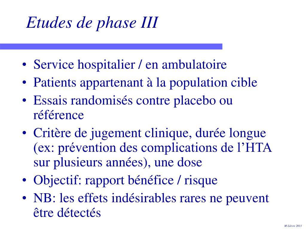 Etudes de phase III