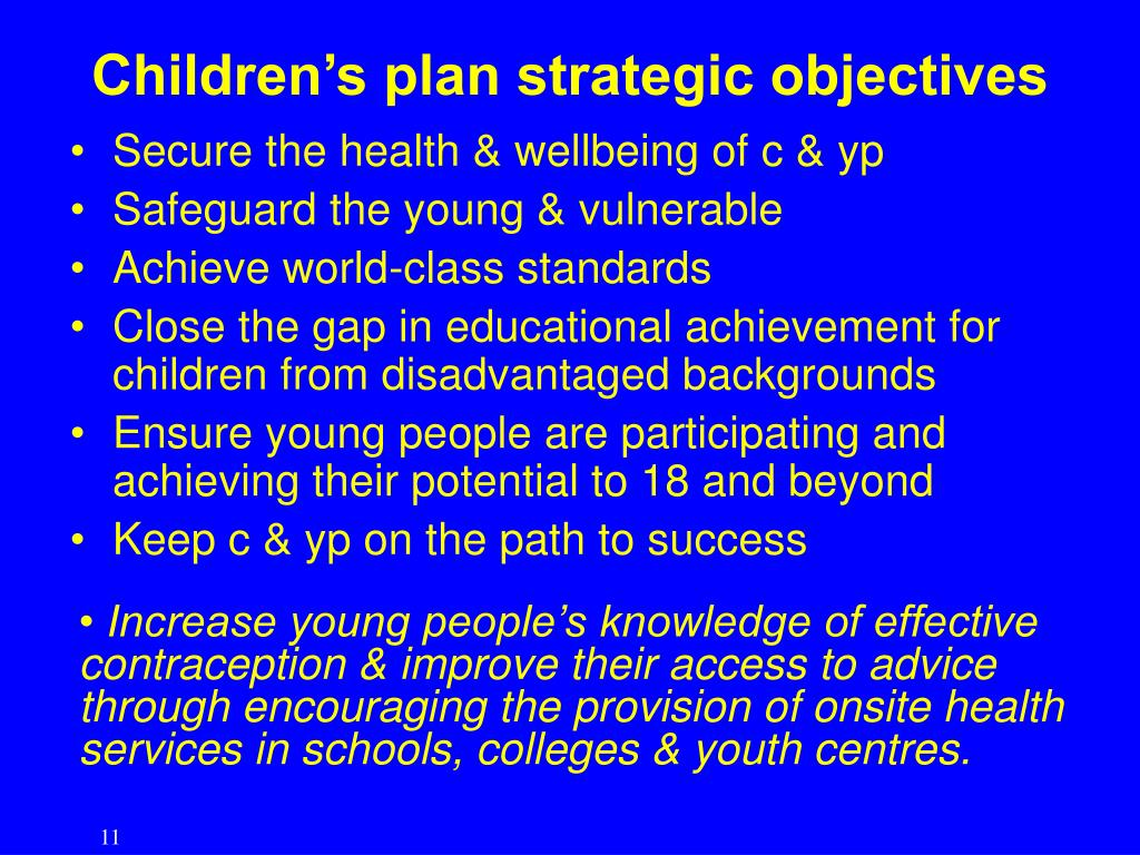 Children's plan strategic objectives