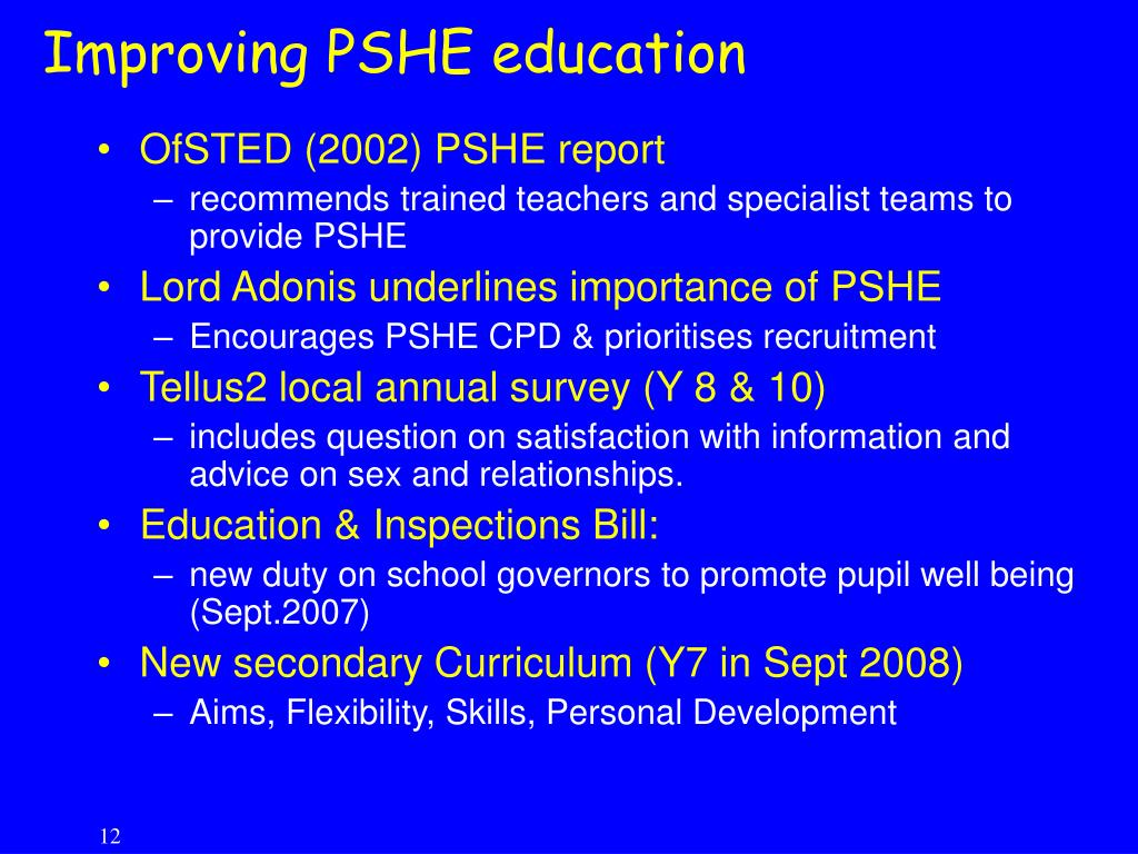 Improving PSHE education