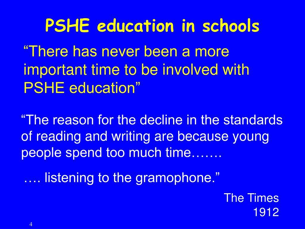 PSHE education in schools