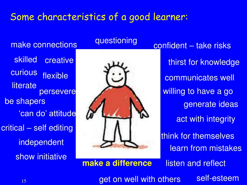 Some characteristics of a good learner: