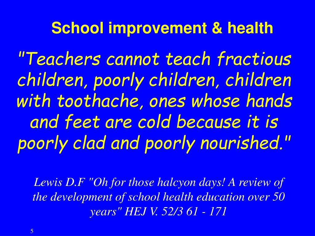 School improvement & health
