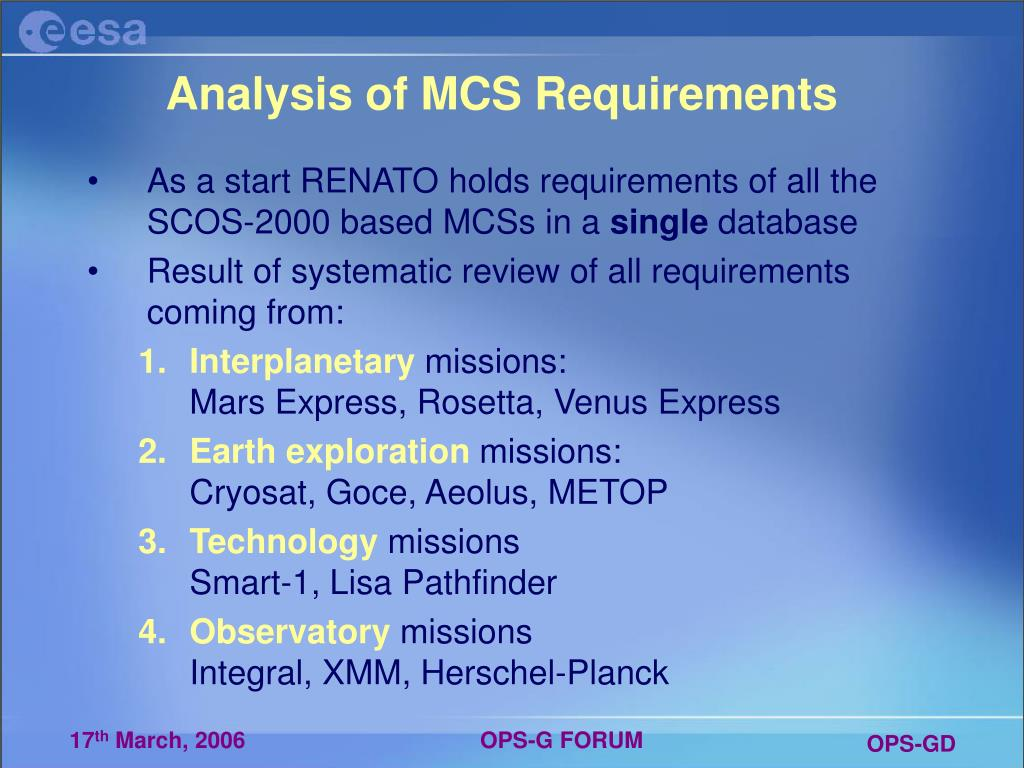 Analysis of MCS Requirements