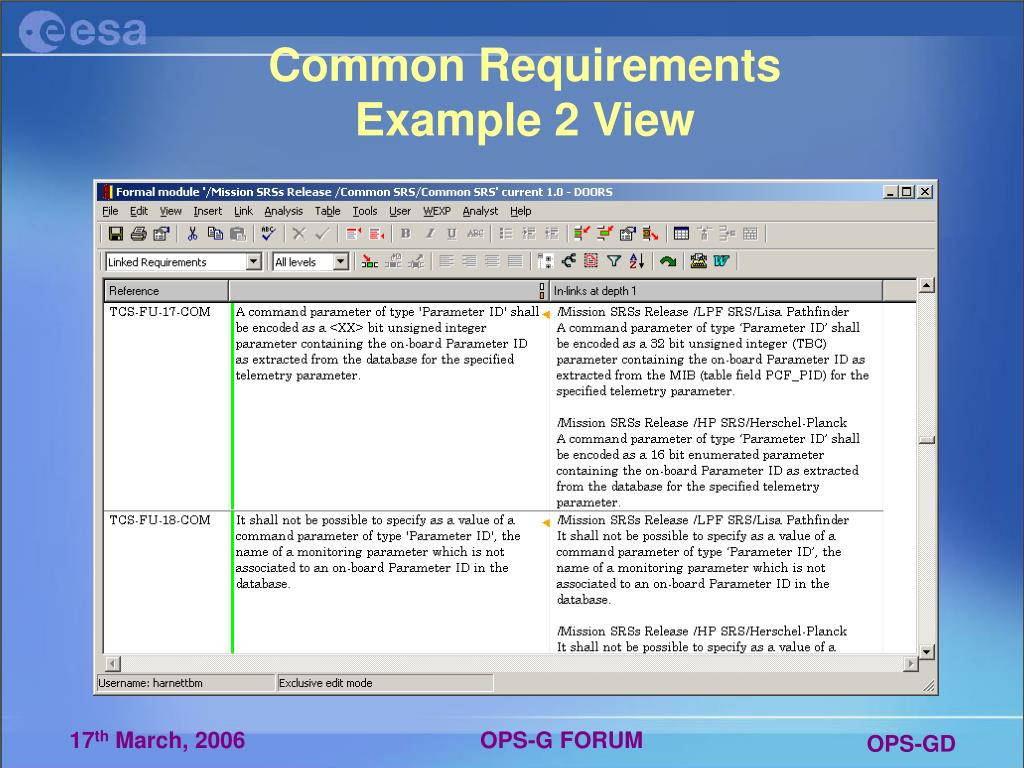 Common Requirements Example 2 View