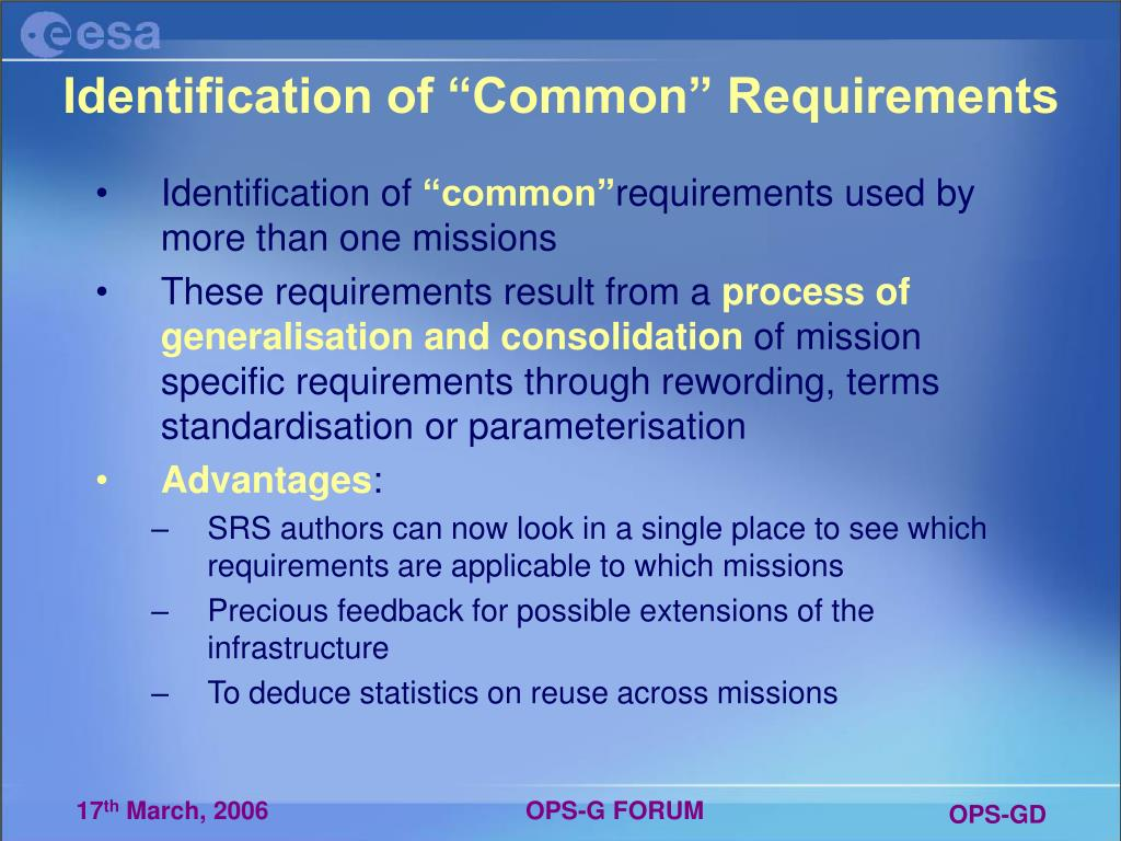 "Identification of ""Common"" Requirements"