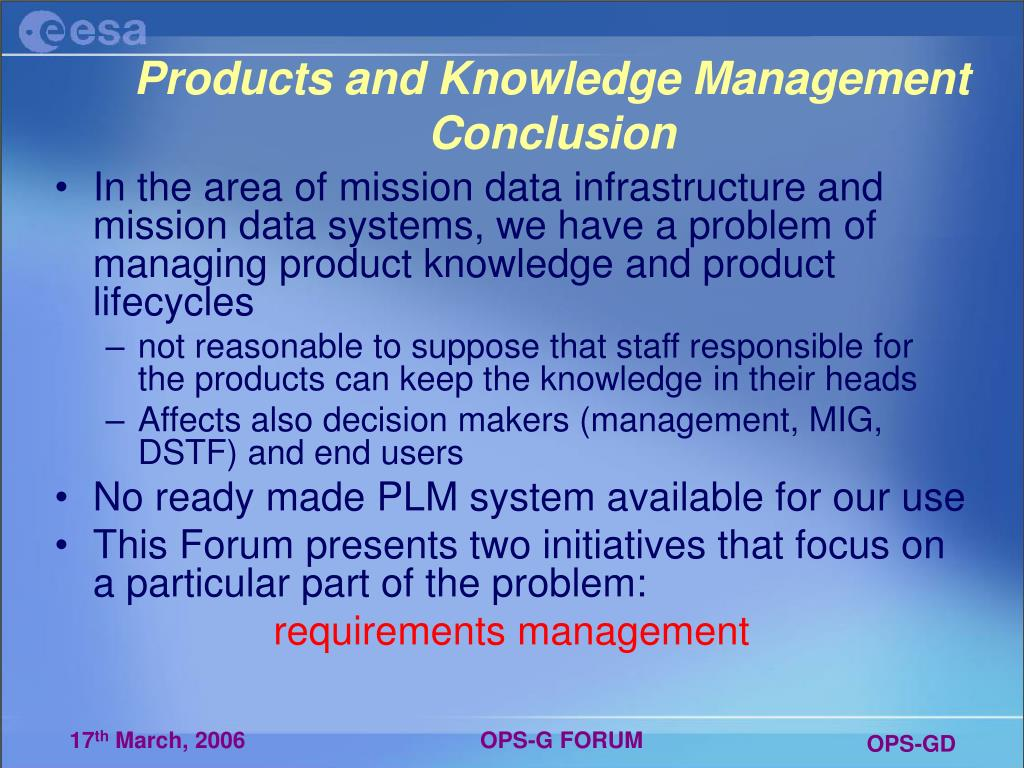 Products and Knowledge Management Conclusion
